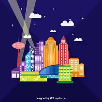 Edificios de la ciudad en la noche