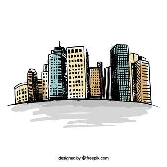 Edificios esbozados de ciudad