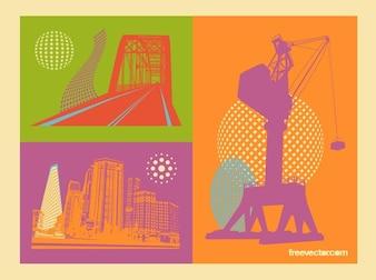 Edificios máquina de obras de construcción, vectores