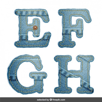 EFGH alfabeto Denim