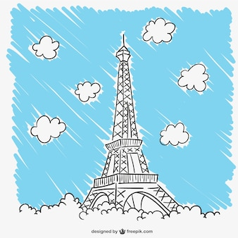Torre Eiffel y nubes