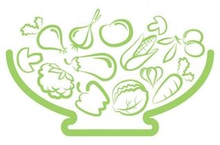 el arte verduras línea del vector