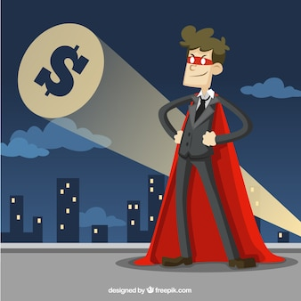 El hombre de negocios vestido como un superhéroe
