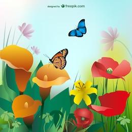 El verano de fondo con flores de colores y mariposas