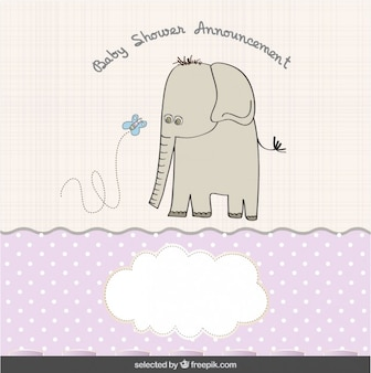Elefante con la mariposa Tarjeta de Baby Shower