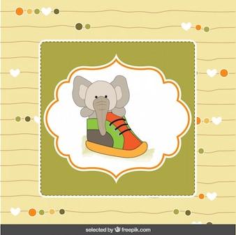 Elefante lindo dentro de un zapatito