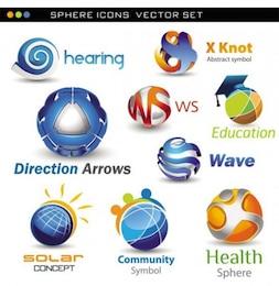 Elegante esfera conjunto de vectores logotipo