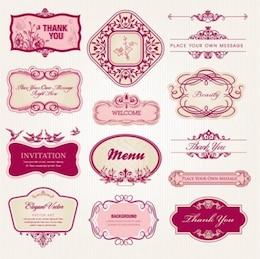 Elegantes rosadas cuadros florales y de época