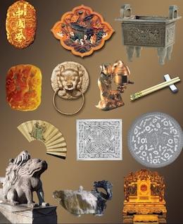 elementos chinos psd material en capas