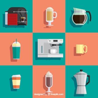 Elementos de café coloridas