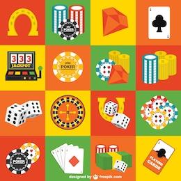 Elementos de casino vectoriales