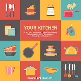 Elementos de cocina de colores