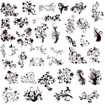 elementos de diseño floral en diferentes estilos para el diseño