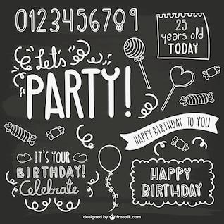 Elementos de fiesta de cumpleaños con textura de pizarra