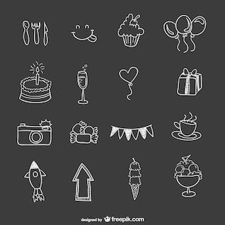 Elementos de fiesta de cumpleaños dibujados a mano