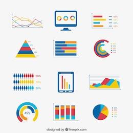 Elementos de infografía de negocios