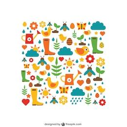Elementos de jardinería de colores
