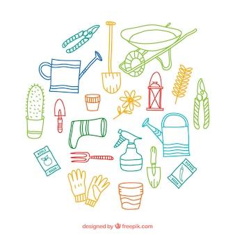 Elementos de jardinería esbozados