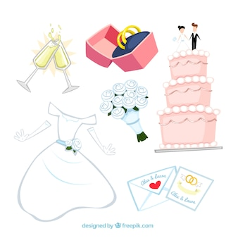 Elementos de la boda Illustrated
