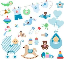 elementos de lindo bebé conjunto de vectores