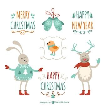 Elementos de Navidad con dibujos simpáticos