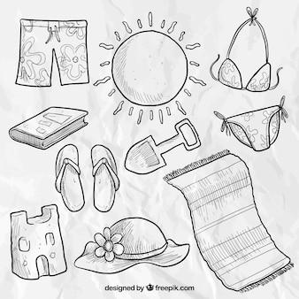 Elementos de playa esbozados