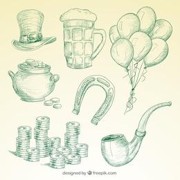 Elementos de San Patricio en estilo dibujado a mano