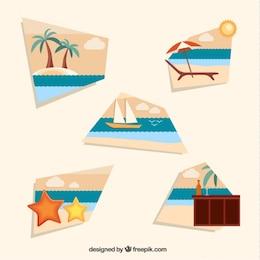 Elementos de vacaciones en la playa