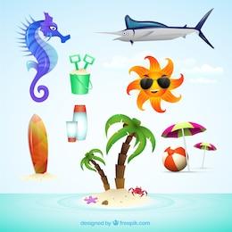 Elementos de verano ilustrados