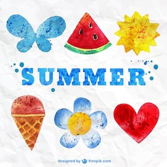 Elementos de verano pintados a mano