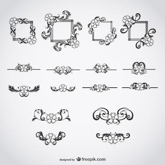 Elementos decorativos caligráficos