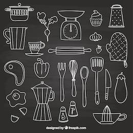 Elementos dibujados a mano para la cocina