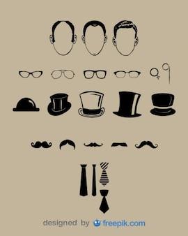Elementos gráficos de aspecto de caballero clásico
