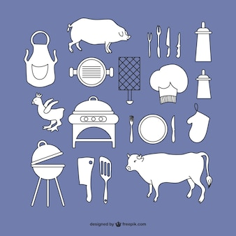 Elementos gráficos de barbacoa