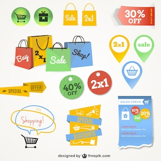 Elementos gráficos de compras online