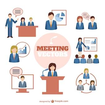 Elementos gráficos de reuniones de negocios