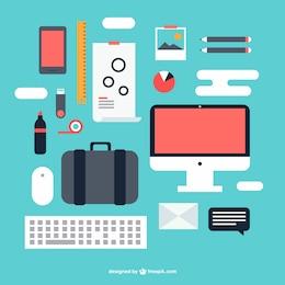 Elementos gráficos kit de oficina