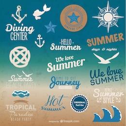 Elementos gráficos vectoriales de verano