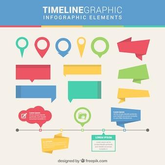 Elementos infográficos de linea del tiempo