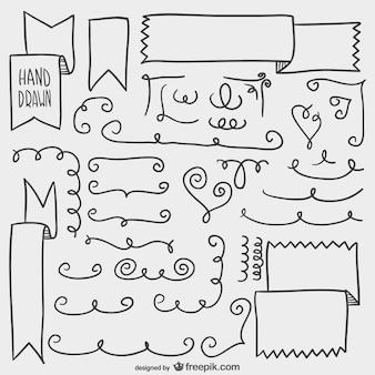 Elementos simples dibujados a mano