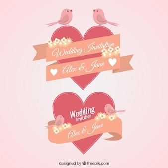 Elementos vintage de invitación de boda