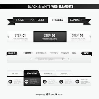 Elementos web en blanco y negro
