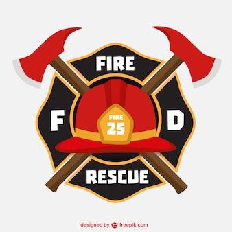 Emblema con casco de bomberos