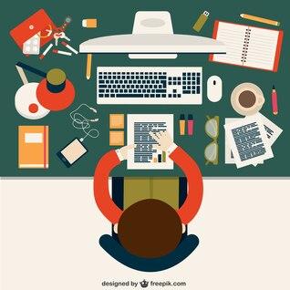 Empleado de oficina analizando datos