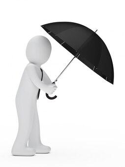 Empleado debajo de un paraguas negro