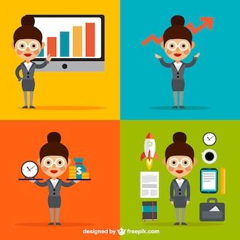 Empresaria e iconos de negocio