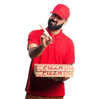 Empresario de pizza haciendo NO gesto