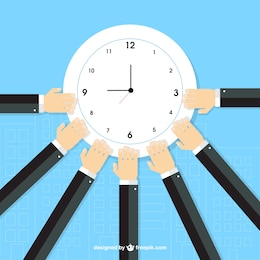 Empresarios rodeando el reloj