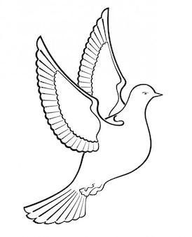 Esbozado pájaro paloma