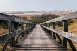 Escalones de madera a la laguna